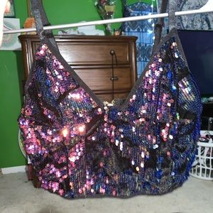 IHeartRaves sequin crop top size Medium